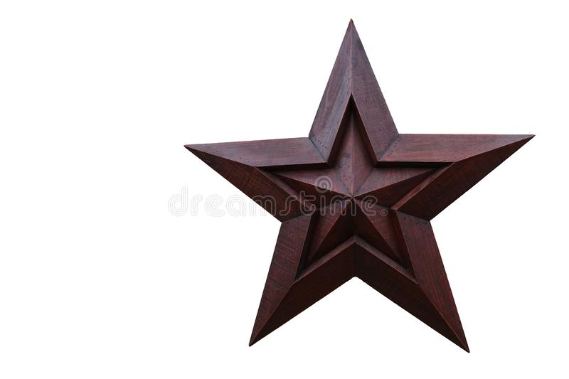 Wooden Star against a White Background. A Red Brown Wooden Star against a White Background stock photos
