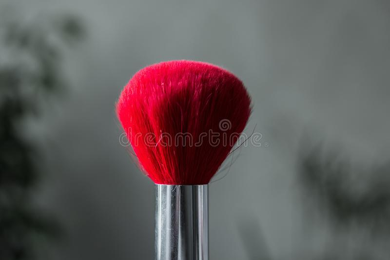 Red brush for powder close-up for make-up stock images