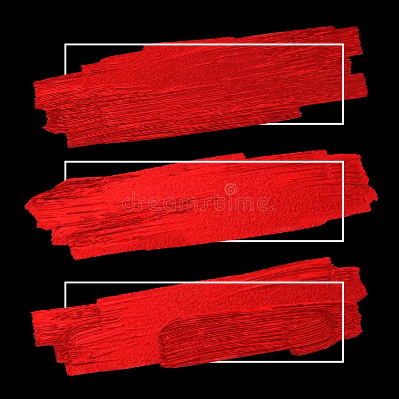 Red brush stoke texture on black background with line frame royalty free illustration