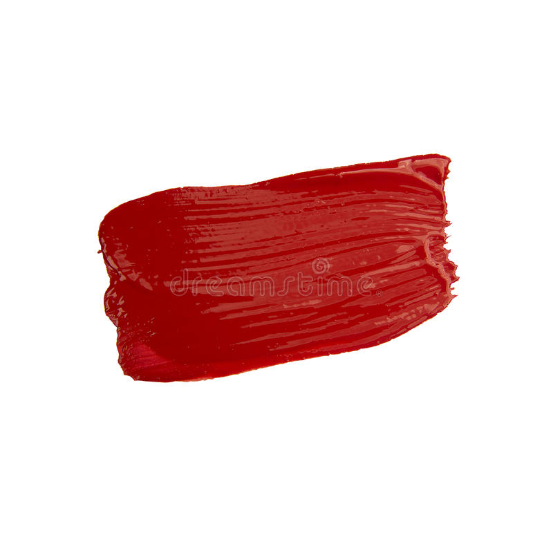 Red brush stroke. Isolated on grunge background royalty free stock image