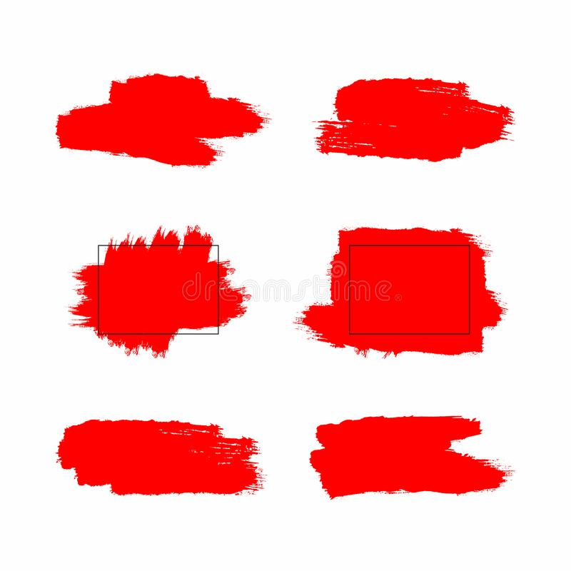 Red brush strokes and paint stains with rectangular frames. Set of grunge elements. Textures of watercolor brushstrokes. vector illustration