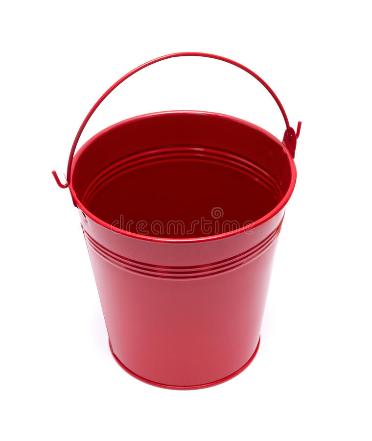 Red Bucket. Isolated on white background royalty free stock photography