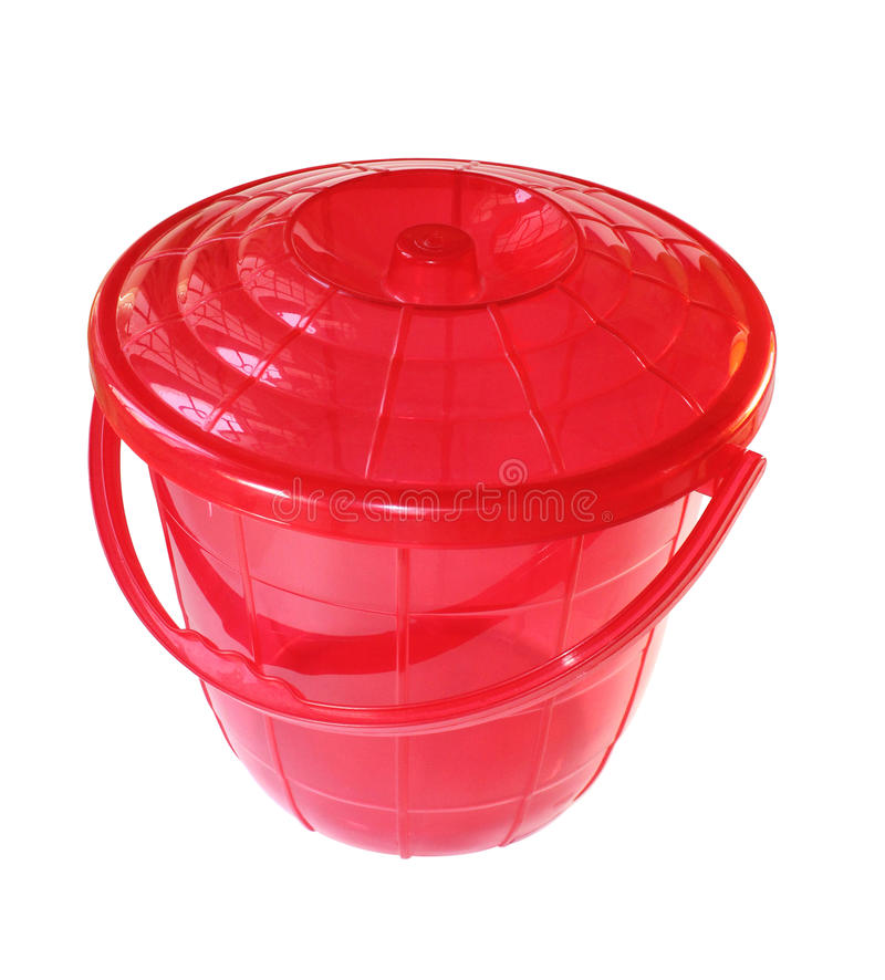 Red bucket stock image