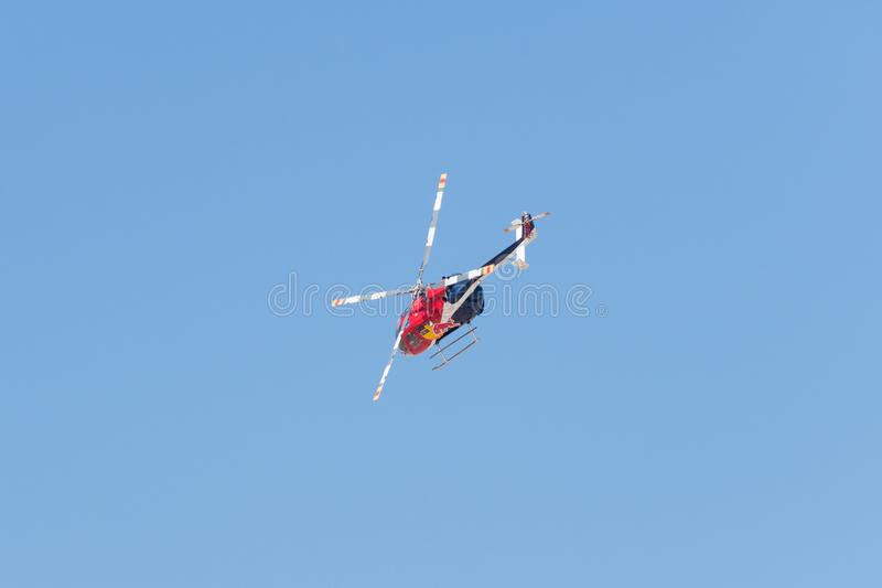 Red Bull Aerobatic Helicopter – BO-105 – Aaron Fitzgerald stock images