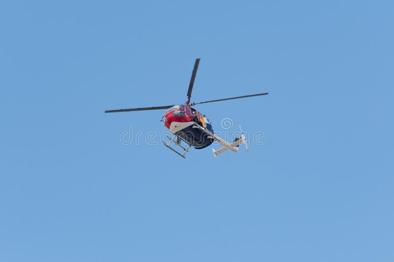 Red Bull Aerobatic Helicopter – BO-105 – Aaron Fitzgerald royalty free stock photos