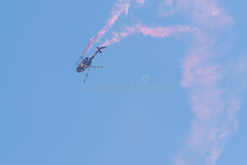 Red Bull aerobatic helicopter  during the Miramar Air Show stock image