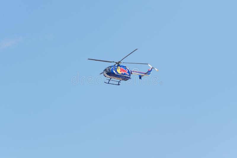 Red Bull aerobatic helicopter  during the Miramar Air Show stock photos