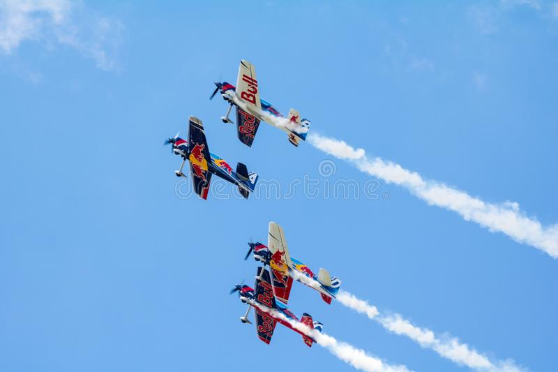 Red Bull Air Race World Championship 2018. BUDAPEST, HUNGARY - JUN 26, 2018: The qualifying session of the Red Bull Air Race World Championship 2018 royalty free stock photography