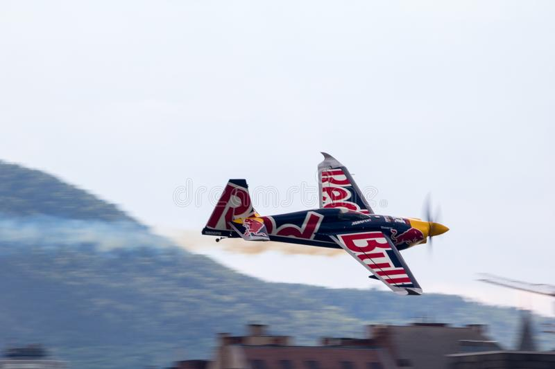 Red Bull Air Race World Championship 2018. BUDAPEST, HUNGARY - JUN 26, 2018: The qualifying session of the Red Bull Air Race World Championship 2018 royalty free stock photos