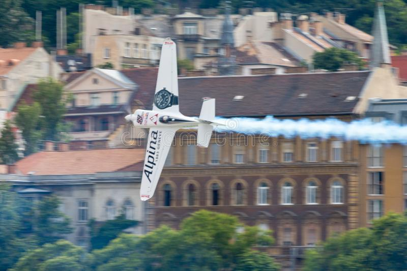 Red Bull Air Race World Championship 2018. BUDAPEST, HUNGARY - JUN 26, 2018: The qualifying session of the Red Bull Air Race World Championship 2018 royalty free stock image