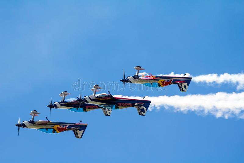 Red Bull Air Race World Championship 2018. BUDAPEST, HUNGARY - JUN 26, 2018: The qualifying session of the Red Bull Air Race World Championship 2018 stock photography