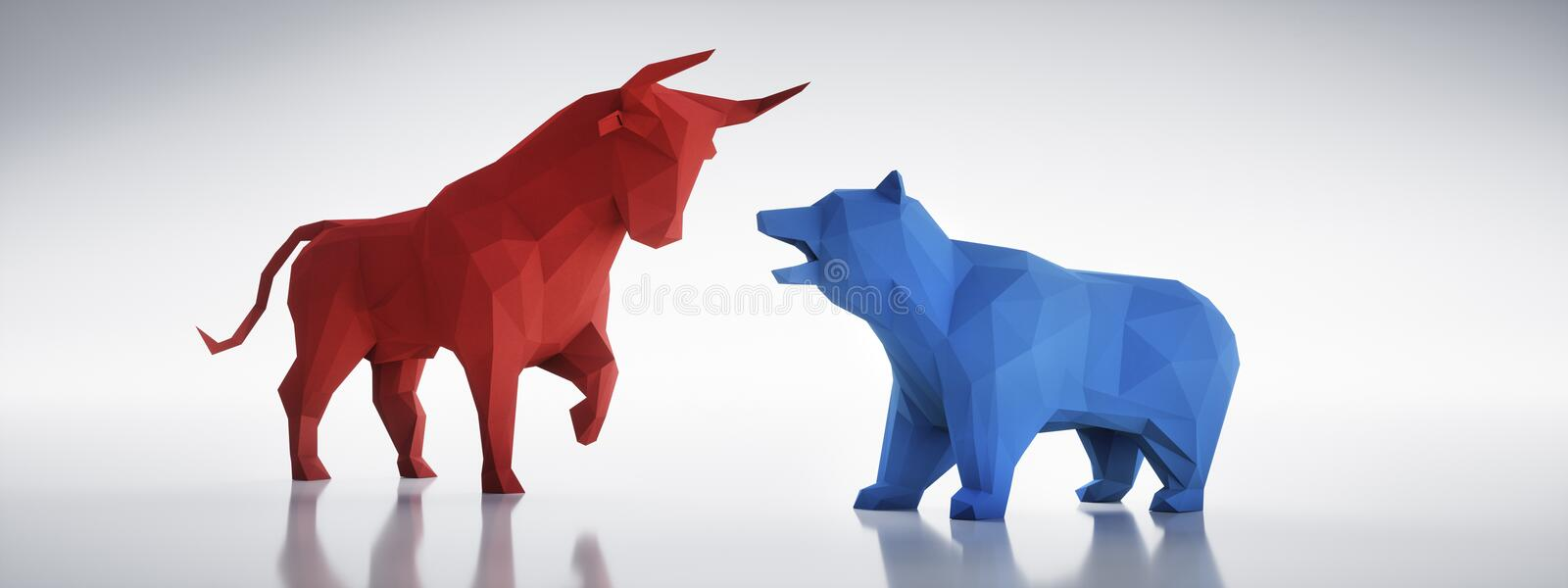 Red bull and blue bear on a white backdrop vector illustration