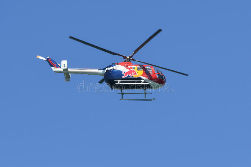 Red Bull Bo-105 acrobatic helicopter royalty free stock image