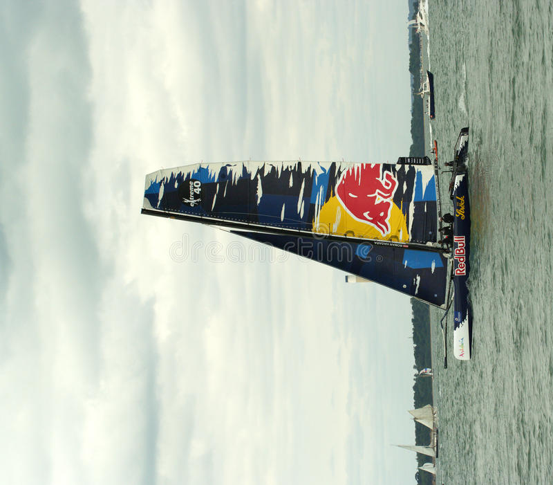 Red Bull catamaran at cowes week 3. Red Bull catamaran at Extreme 40 series event at Cowes Week 2010 stock images