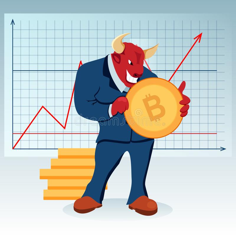 Red Bull Character Increase Price Bitcoin Trade vector illustration