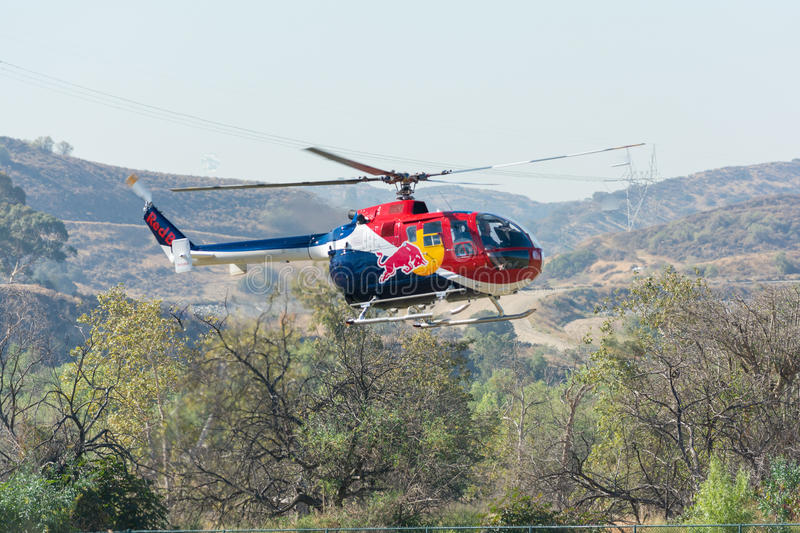 Red Bull helicopter royalty free stock photo