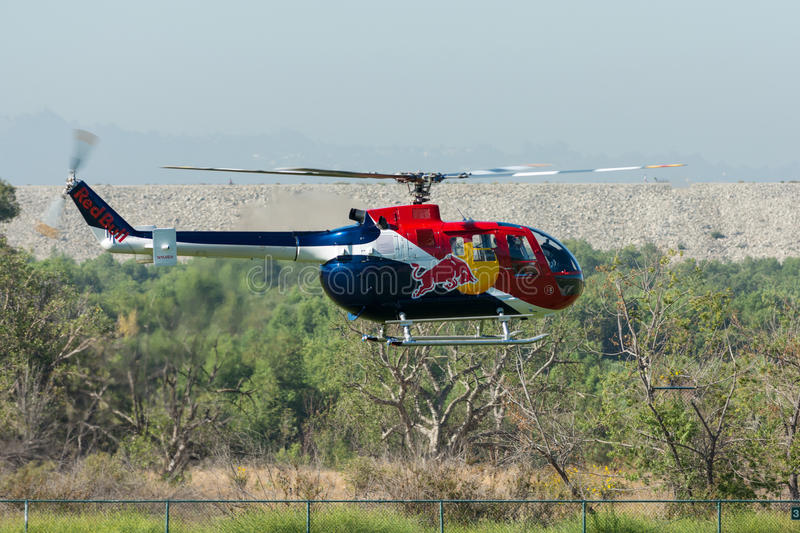 Red Bull helicopter stock image