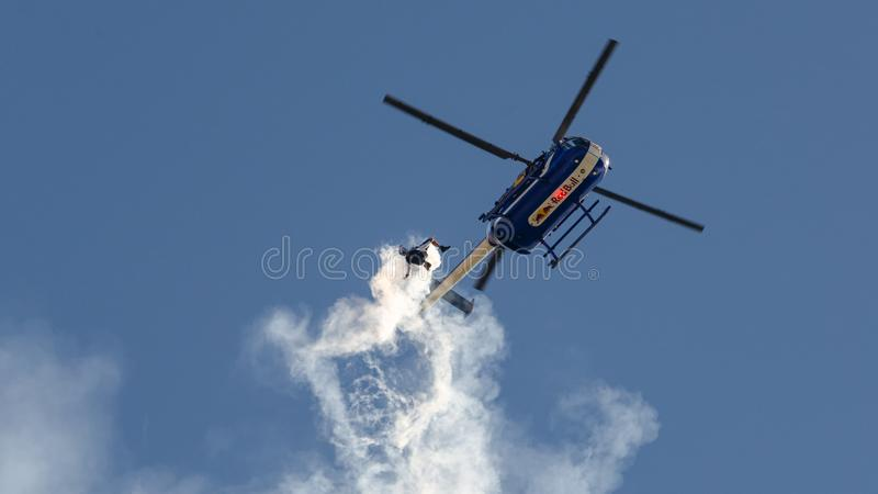 Red Bull Helicopter stock photography