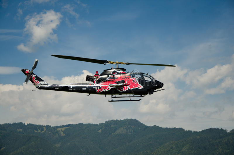 Red Bull helicopter stock images