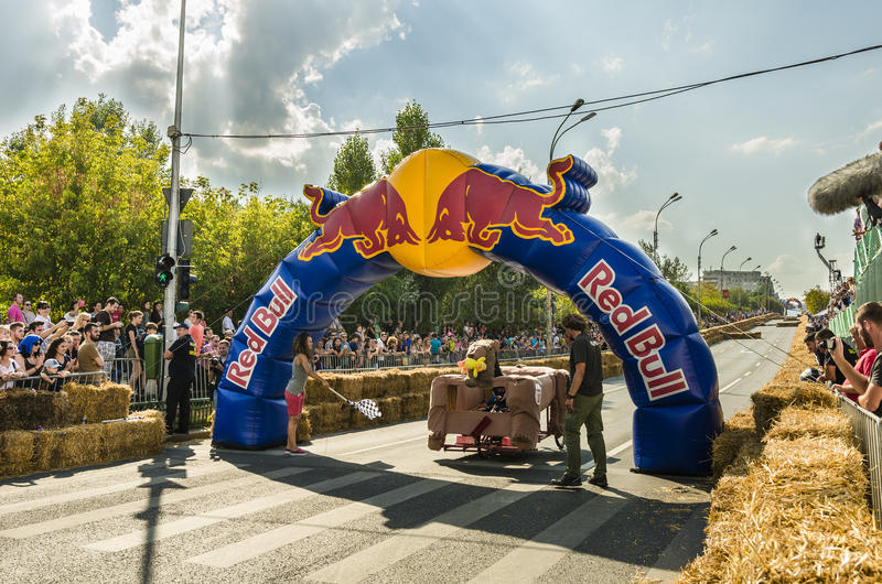 Red Bull Soapbox Bucharest 2014. Racers crossing the finish line at the Red Bull Soapbox event on September 14, 2014 in Bucharest, Romania. Red Bull Soapbox Race royalty free stock photos