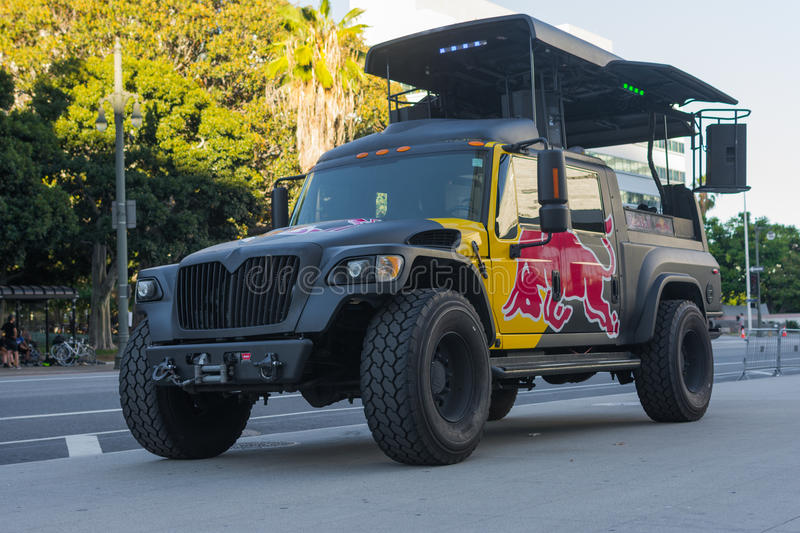 red bull truck music station editorial photo image of fitness bikerider 58093131. Black Bedroom Furniture Sets. Home Design Ideas