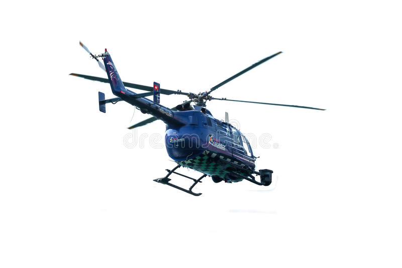 Red Bull TV Helicopter over white stock photos