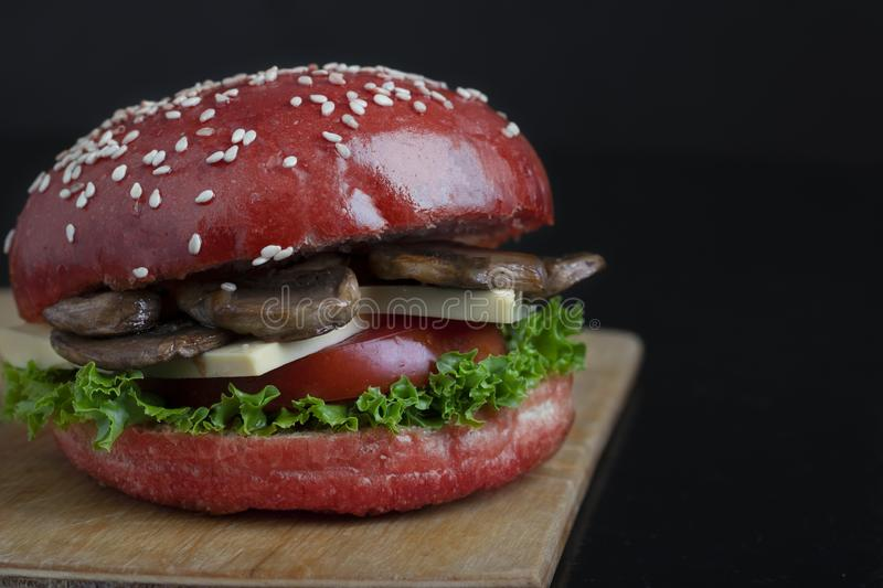 Red Bun And Fresh Sesame On Baked Buns Juicy Crispy Mushroom Burger Bun Healthy Meal For Lunch And Dinner Stock Photo Image Of Closeup Burgers 146905492