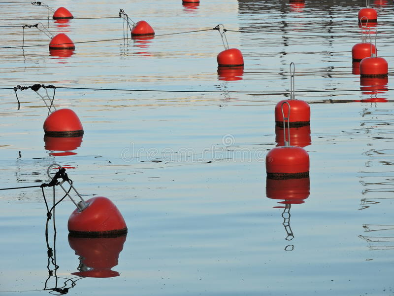 Red buoy. In empty marina, Lithuania stock photo