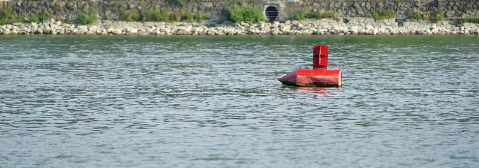 Red buoy. And river stock photography