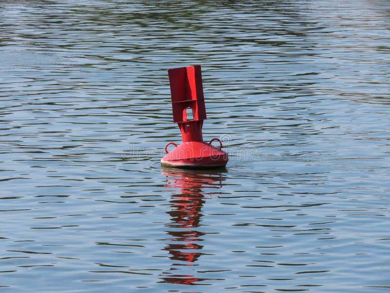 Red buoy in river. Red buoy in Sava river,Belgrade,Serbia stock image
