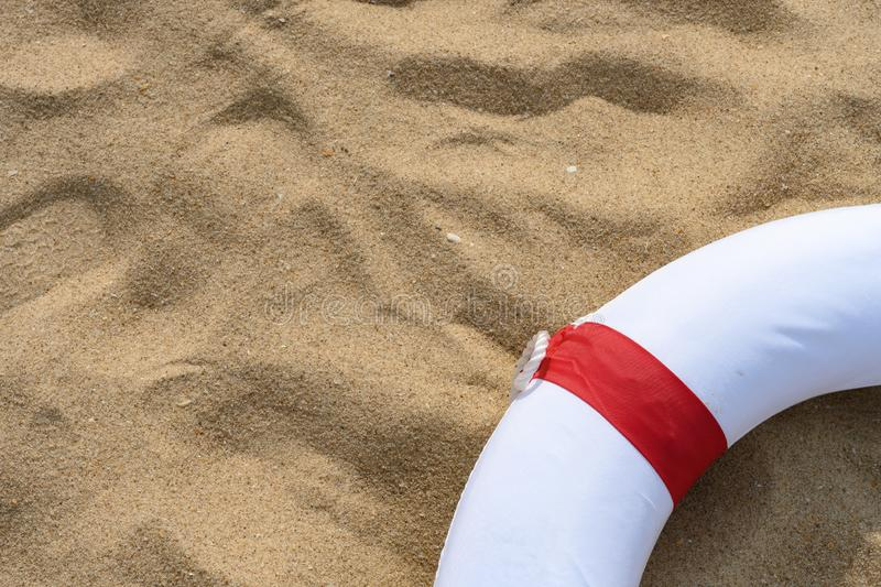 Red buoy on sand with copy space. Red buoy on  sand with copy space royalty free stock photo