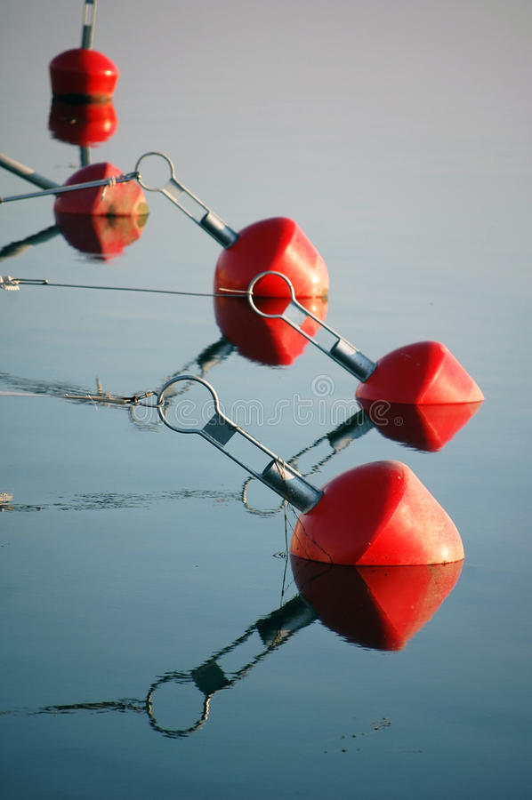 Red buoy in sea. At habor stock image