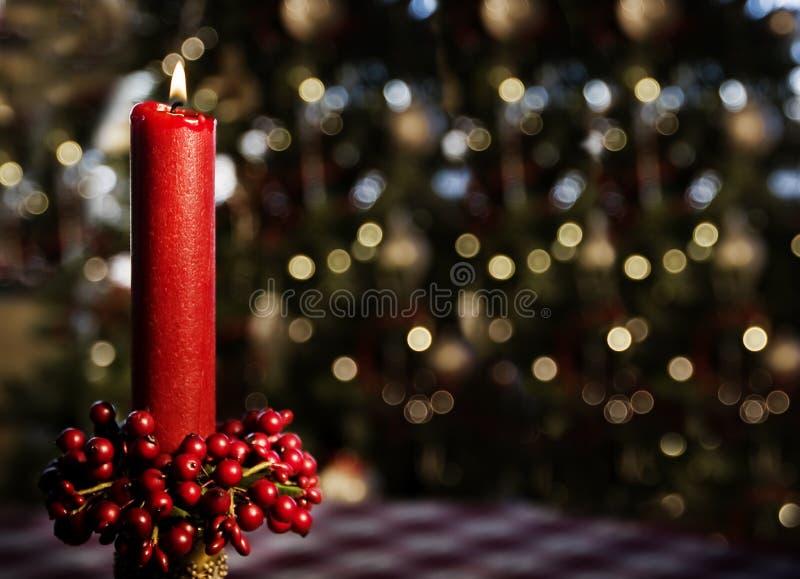 Red Burning Candle - horizontal stock photo