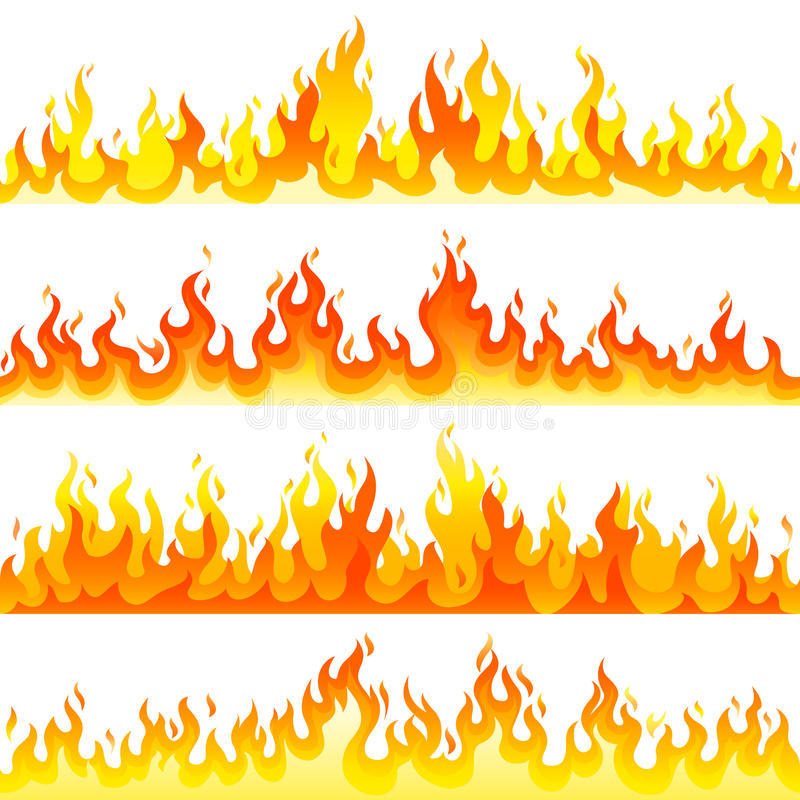 Red Burning Fire Flame Logo Set Design Vector Template. Stock Vector ...