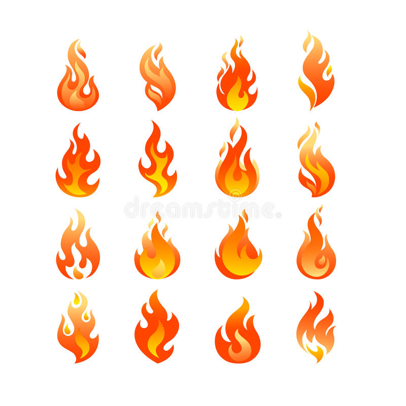 Red Burning Fire Flame Logo Set Design Vector Template Stock Vector ...