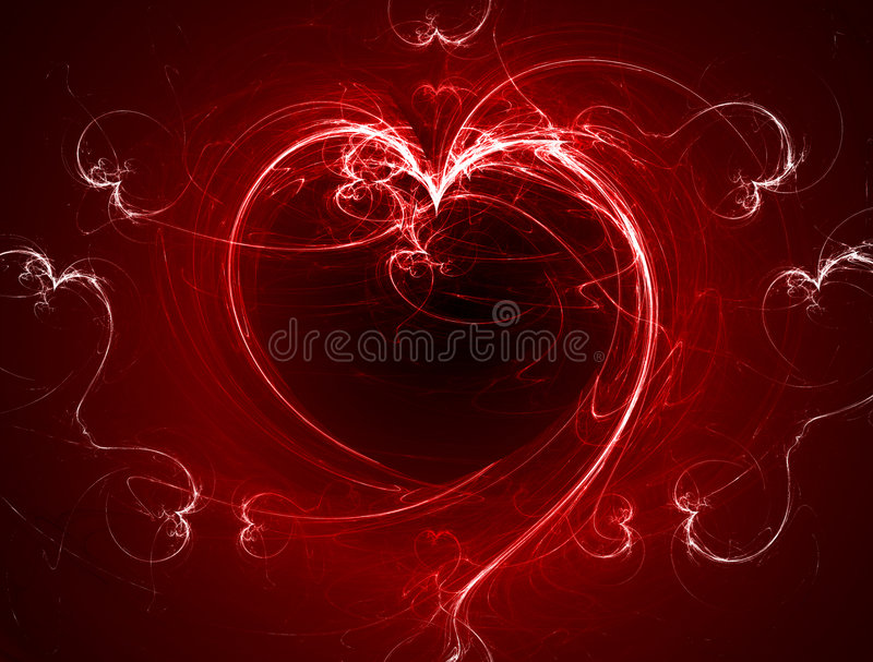 Red burning fractal heart. Red burning digitally generated fractal heart royalty free illustration