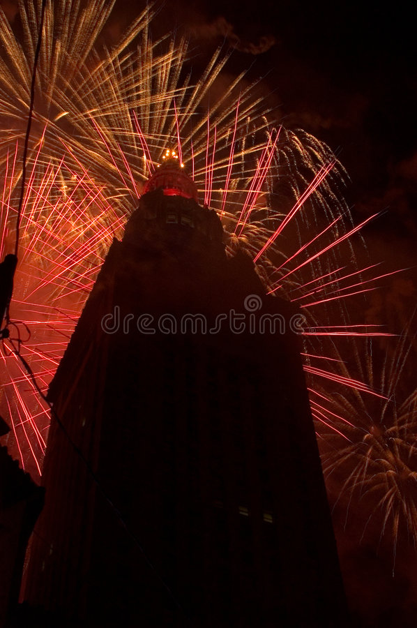 Download Red Bursts Behind The Building Stock Photo - Image: 9656