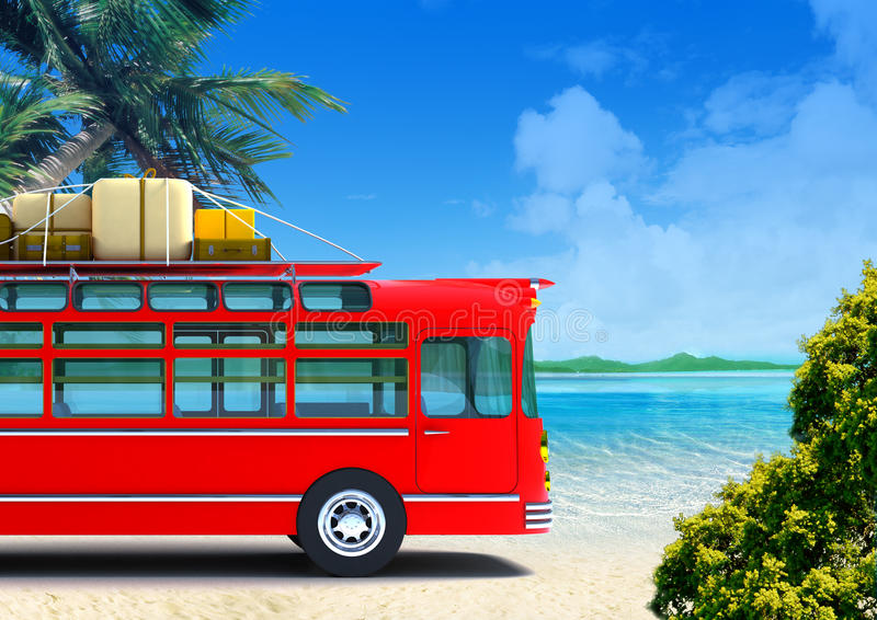 Download Red bus adventure on beach stock illustration. Illustration of transport - 20735372