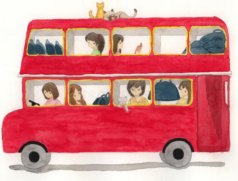 red bus with girls and cat illustration stock illustration