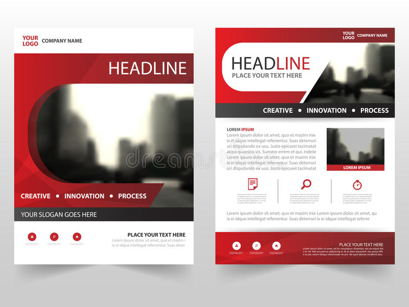 Red business Brochure Leaflet Flyer annual report template design, book cover layout design, abstract business presentation royalty free illustration