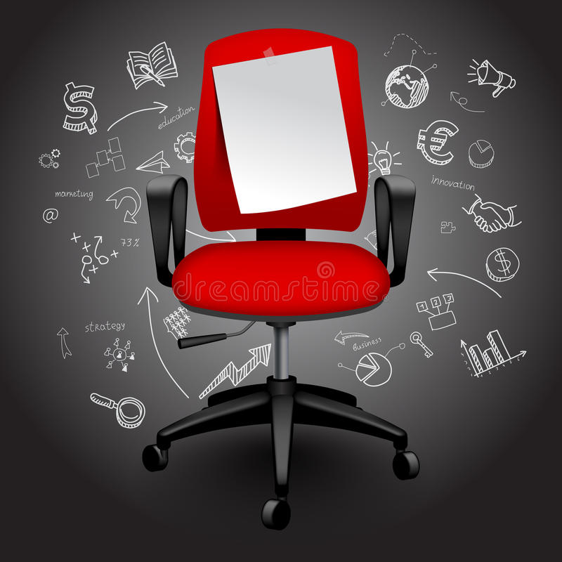 Red business chair with notice paper sheet on hand drawn business icons background. Contains the Clipping Path. There is in addition a vector format EPS 10 royalty free illustration