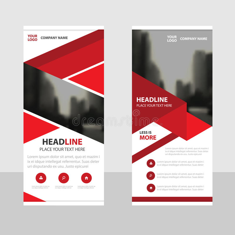 Red Business Roll Up Banner flat design template ,Abstract Geometric banner template Vector illustration set. Abstract presentation brochure flyer template royalty free illustration