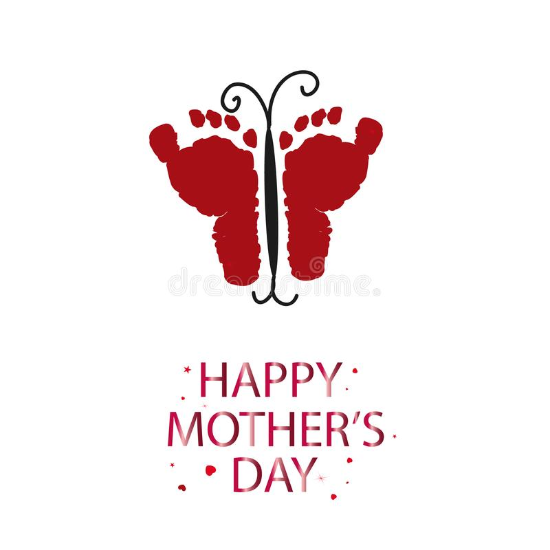 Red butterfly with baby foot prints. Happy Mother`s Day greeting card. Coming soon baby. Baby gender reveal symbol. Girl, boy, twi vector illustration