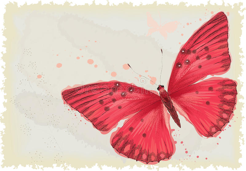 Red butterfly. Background with red butterfly in watercolor technique. Vector illustration. All objects are isolated