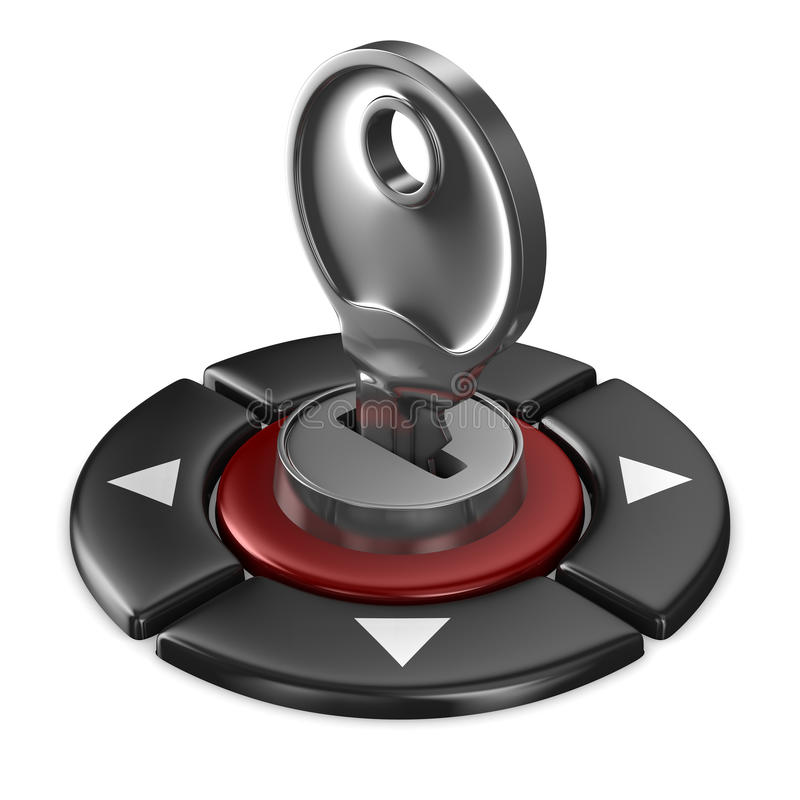 Red button and key on white background. 3D image vector illustration