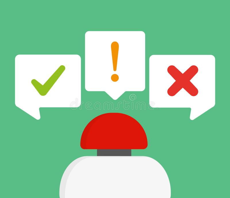 Red button with quiz concept stock illustration