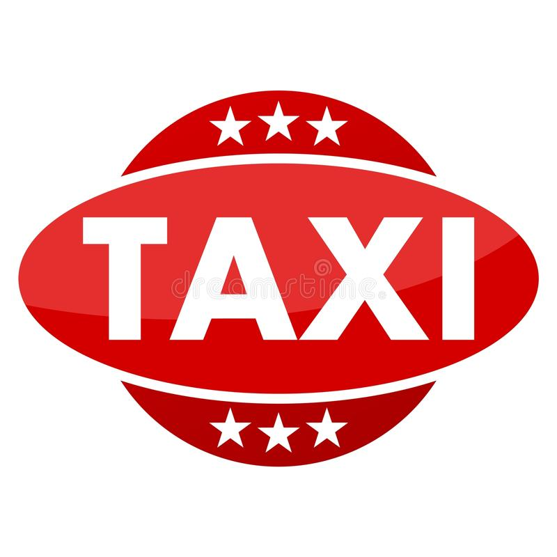 Red button with stars Taxi. Vector icon royalty free illustration