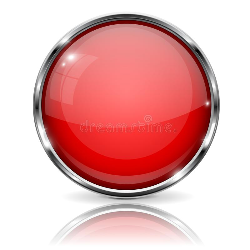 Free Red Button With Chrome Frame. Round Glass Shiny 3d Icon Royalty Free Stock Photo - 114148785