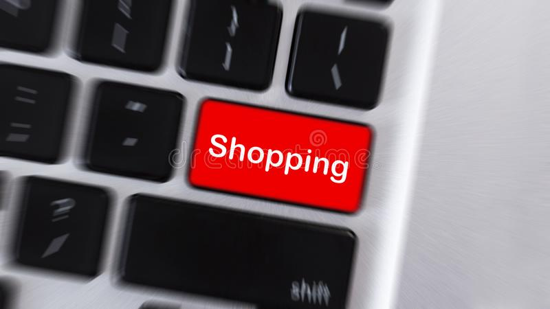 Red button with word Shopping on computer keyboard royalty free stock photography