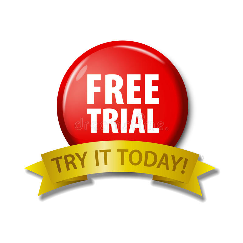 Red button with words `Free Trial - Try It Today royalty free illustration